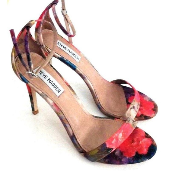 d1553c615d5 Steve Madden Stecy Floral Orange Ankle Strap Heels